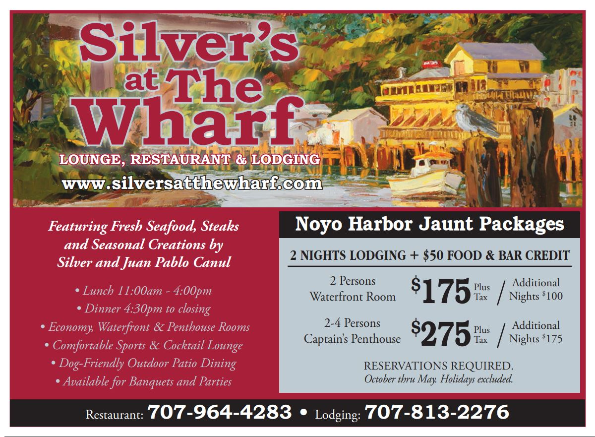 Silvers on the Wharf Restaurant and Hotel on the water in Fort Bragg CA